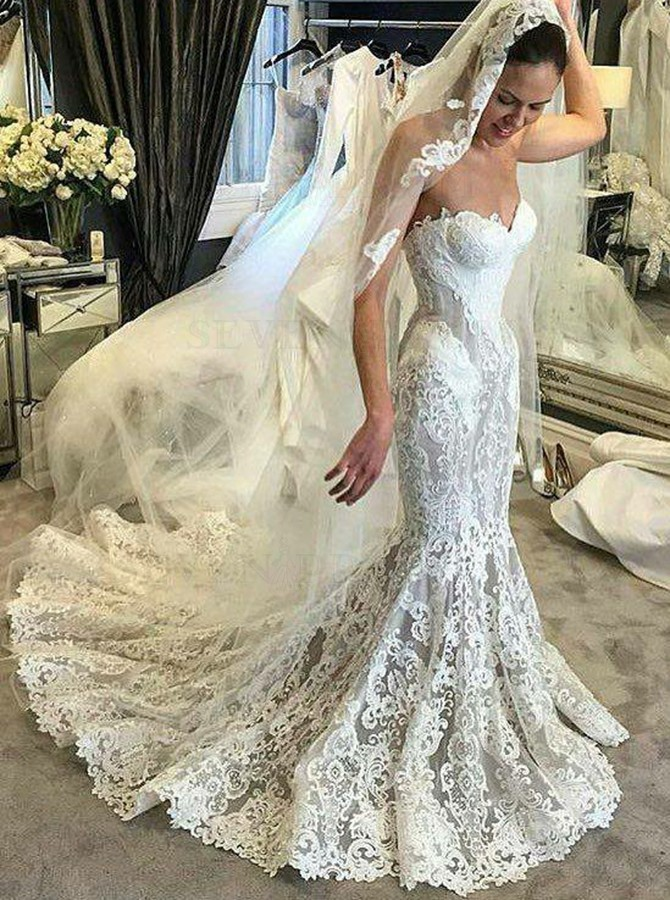 Sweetheart Mermaid Wedding Dresses Bridal Gowns Sleeveless Lace Applique Train