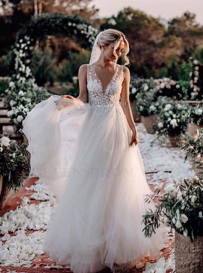 Buy A Line Open Back Wedding Dress With Appliques From Sevenprom Com 0 00