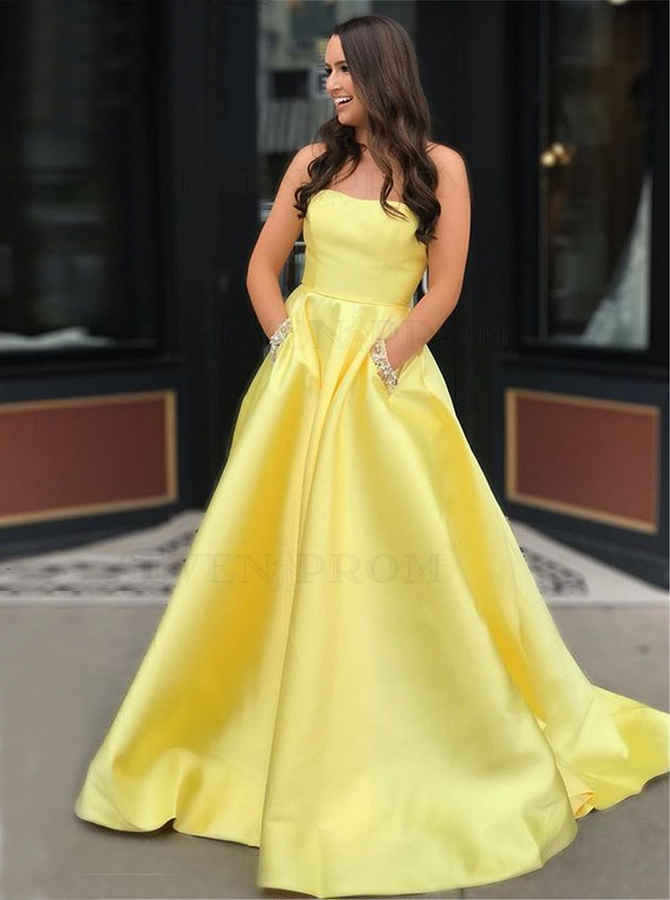 Buy A-Line Strapless Yellow Prom Dress