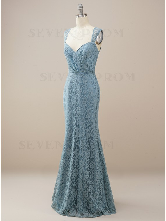 Lace Long Mermaid Dusty Blue Bridesmaid Dress