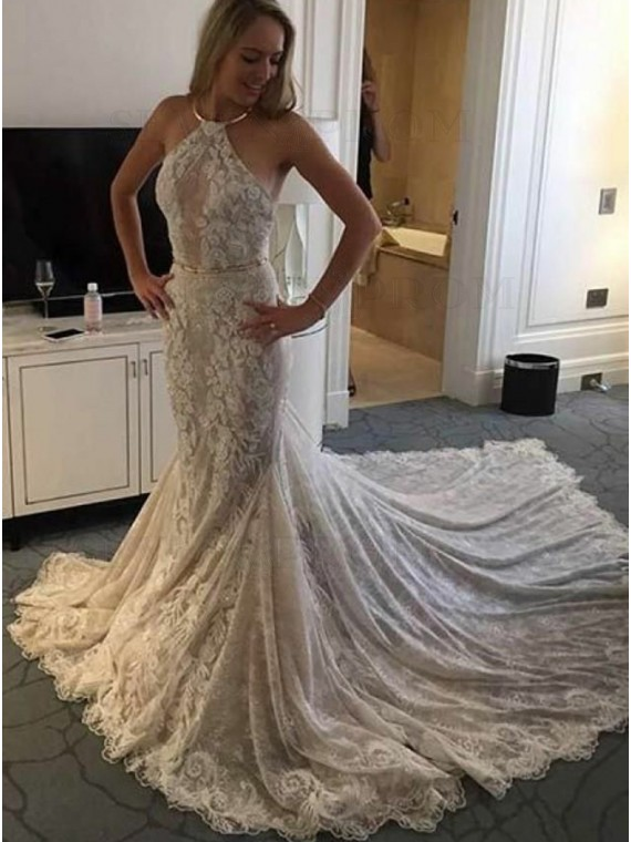 Mmermaid Halter Backless Court Train Wedding Dress with Appliques