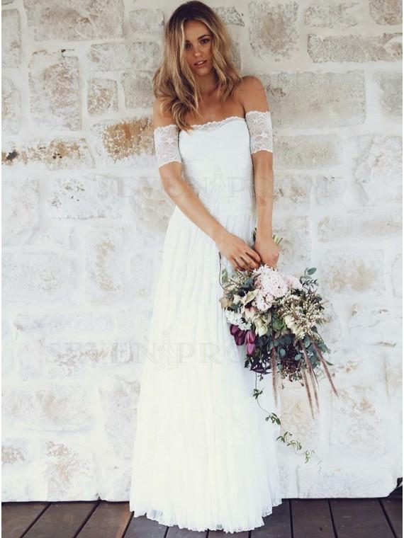 A-Line Off-the-Shoulder Short Sleeves Lace Boho Wedding Bridal Dress