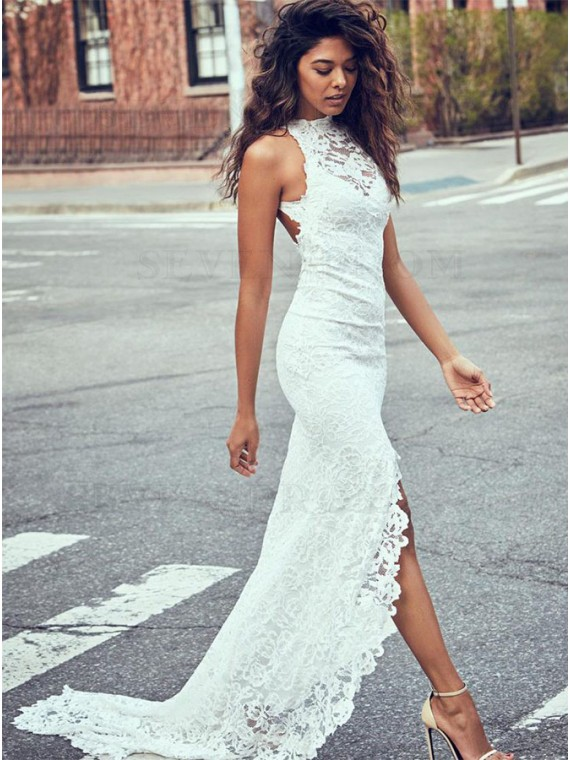 Mermaid Jewel Sweep Train Open Back Lace Wedding Dress with Split