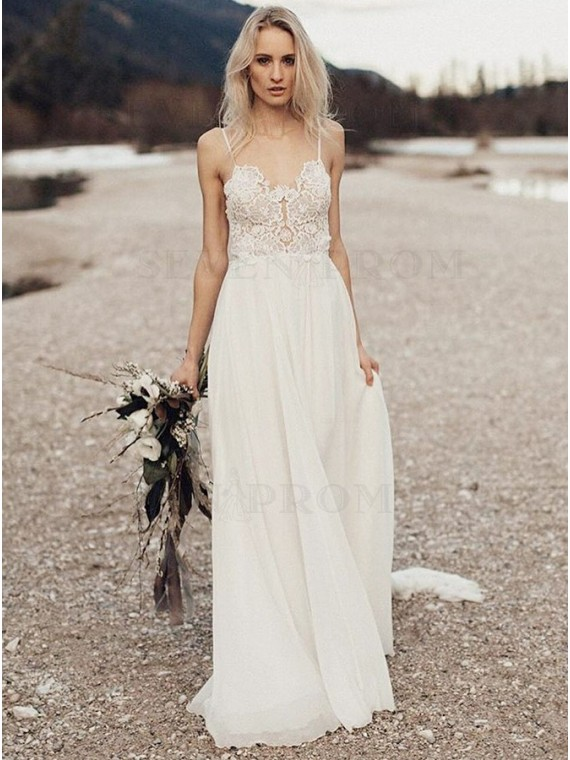 A-Line Spaghetti Straps Long Chiffon Backless Wedding Dress with Lace
