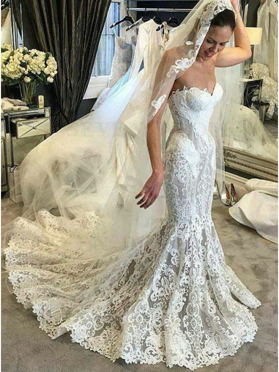 Mermaid Sweetheart Court Train Lace Wedding Dress with Appliques