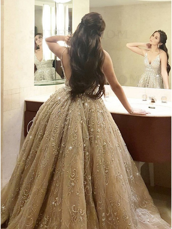 A-Line Spaghetti Straps Backless Champagne Wedding Dress with Beading