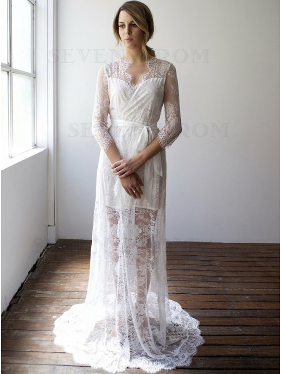 Sheath V-Neck 3/4 Sleeves Beach Lace Wedding Dress with Sash