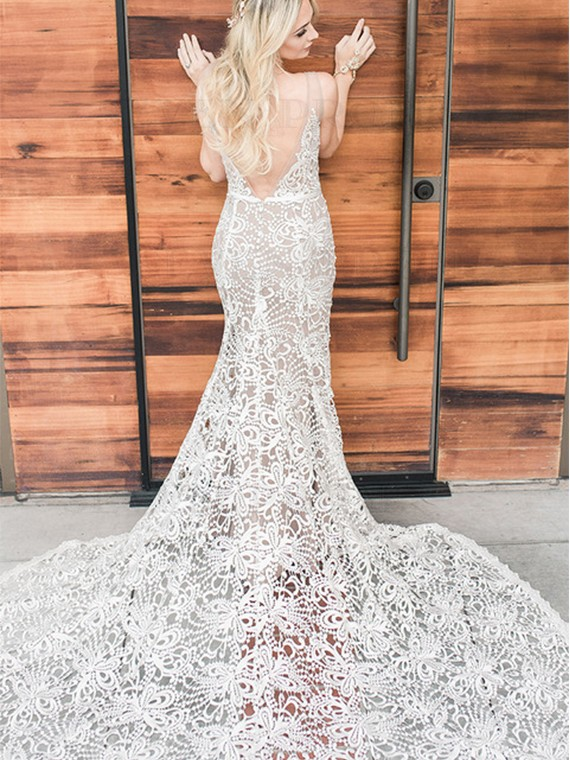Mermaid V-Neck Backless Sweep Train White Lace Wedding Dress