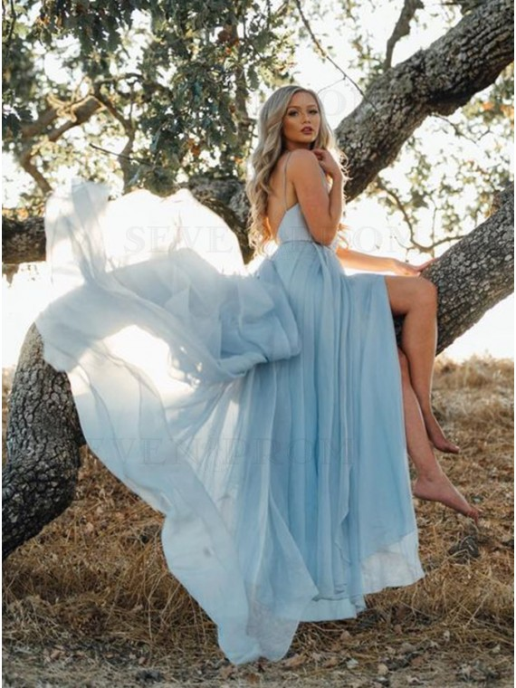 A-Line V-Neck Long Chiffon Light Blue Backless Prom Dress with Split