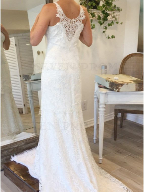 Mermaid Crew Sleeveless Sweep Train White Lace Wedding Dress