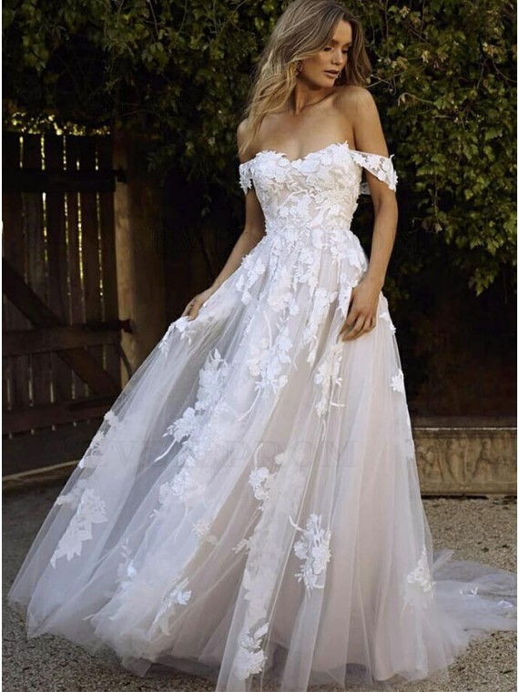A-Line Sweep Train Off-the-Shoulder Wedding Dress with Appliques