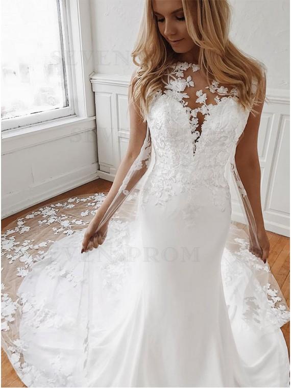 Mermaid Watteau Train Sleeveless Wedding Dress with Appliques