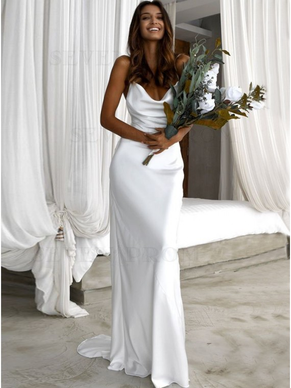 Simple Sheath Spaghetti Straps Backless Beach Wedding Dress