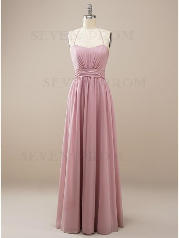 Chiffon Hater Long Dusty Rose Bridesmaid Dress