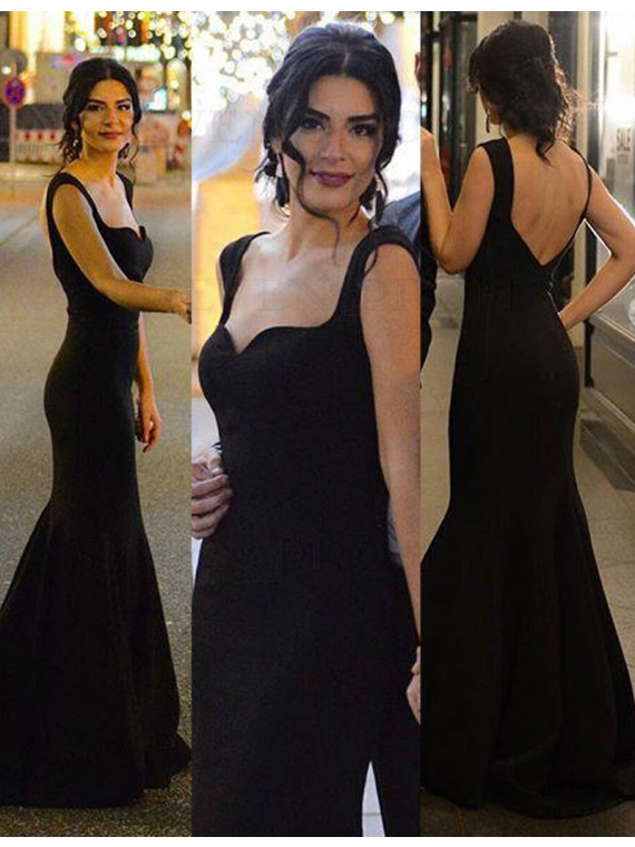 Generous Black Mermaid Straps Sleeveless Sweep Train Backless Prom Dress