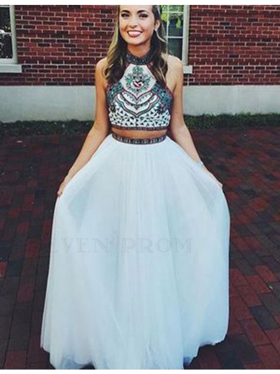 Halter Open Back White Homecoming Dress Long Two Piece Prom Dress with Embroidery
