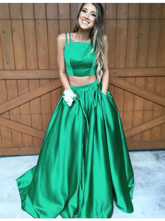 Simple Two Piece Prom Dress with Pockets Spaghetti Straps Green Party Dress