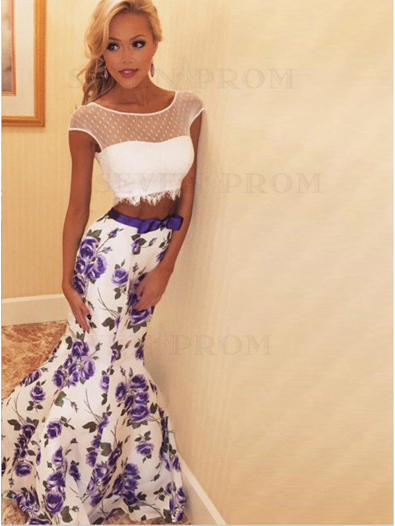 Two Piece Round Neck Cap Sleeves Floral Prom Dress with Lace