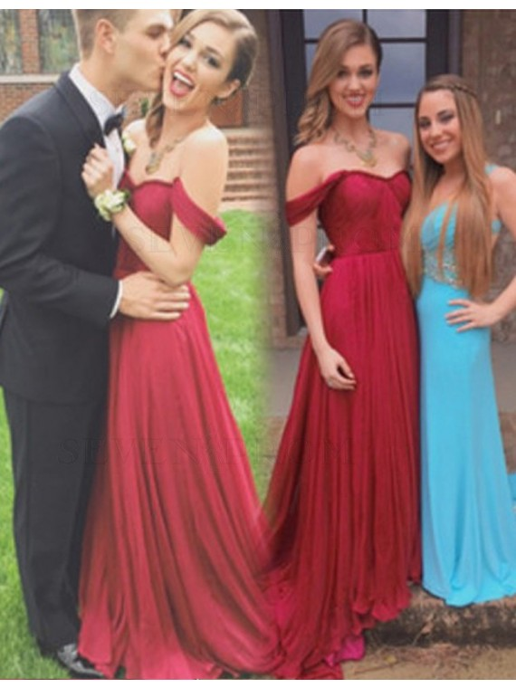 Simple Burgundy Off the Shoulder Short Sleeves Sweep Train Pleats Prom Dress