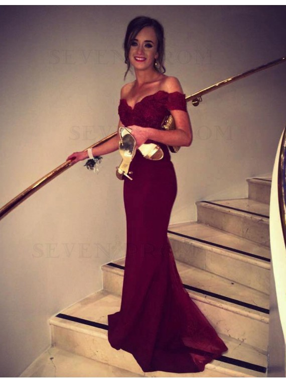 Honorable Burgundy Off the Shoulder Short Sleeves with Lace Long Prom Dress