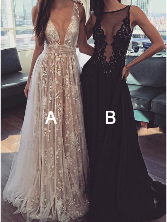 A-Line Deep V-Neck Backless Champagne Prom Dress with Lace