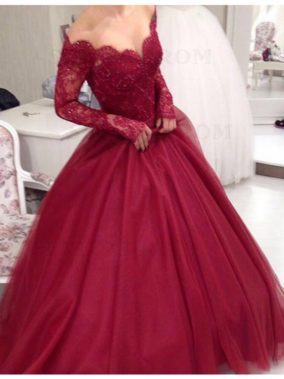 Elegant Red Off the Shoulder Long Sleeves Beading Long Prom Dress