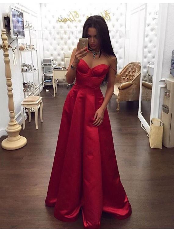 Simple Spaghetti Straps Sleeveless Floor-Length Pleats Red Prom Dress