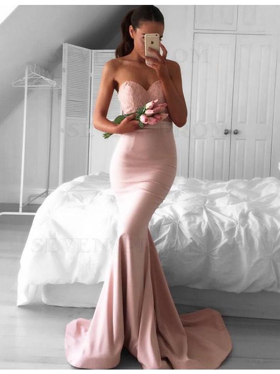 Modern Blush Mermaid Sweetheart Sweep Train Lace Top Prom Dress