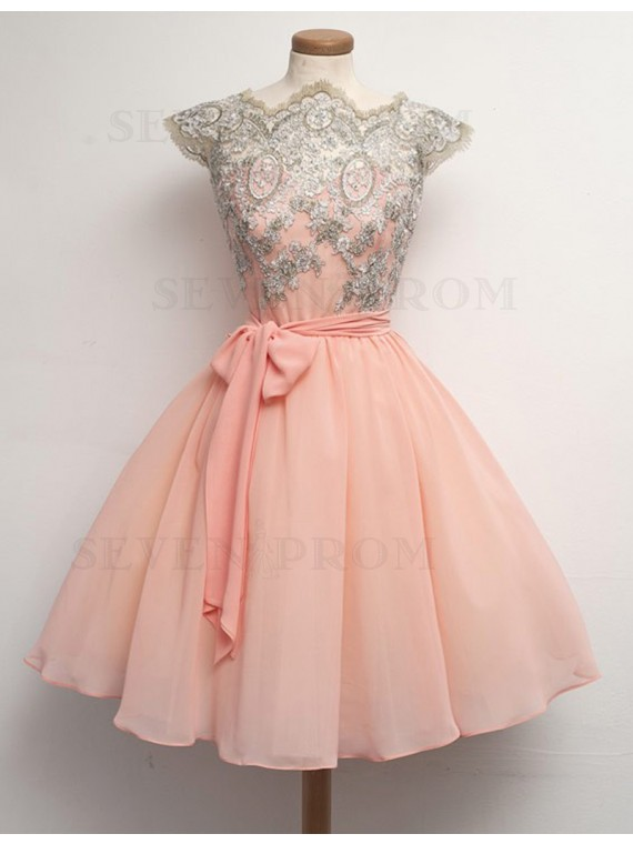 Sweet Peach Scalloped Cap Sleeves Sash Short Backless Prom Dress