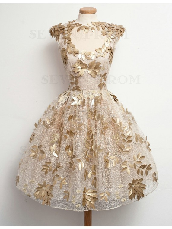 Dramatic Champagne Crew Cap Sleeves Above-Knee Keyhole Appliques Prom Dress