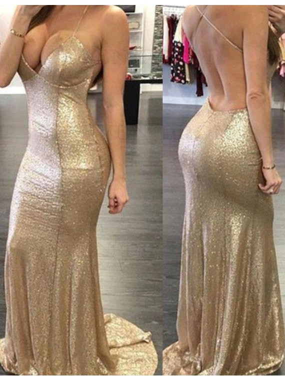 Sexy Spaghetti Straps Sequin Prom Dress Backless Gold Mermaid Evening Dress