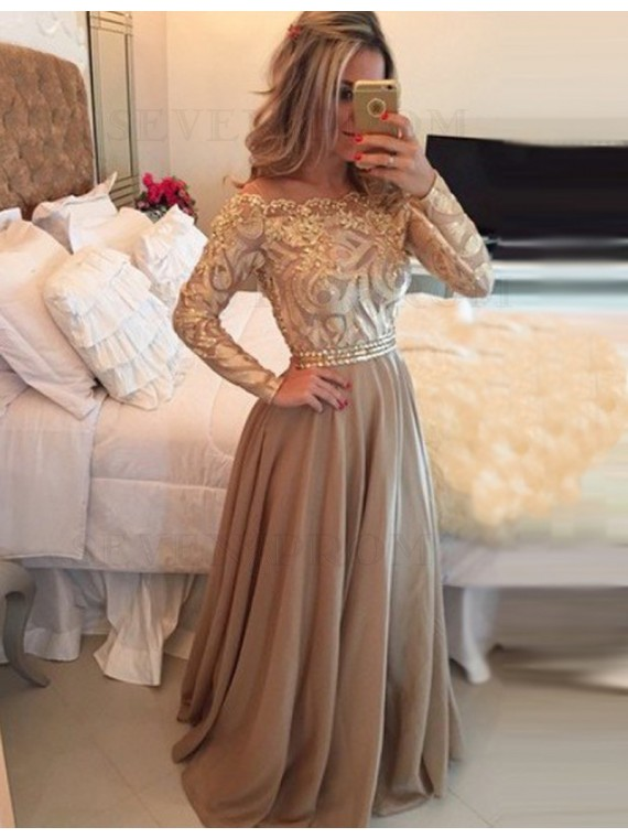 Elegant Champagne Scalloped Long Sleeves Beading with Lace Long Prom Dress