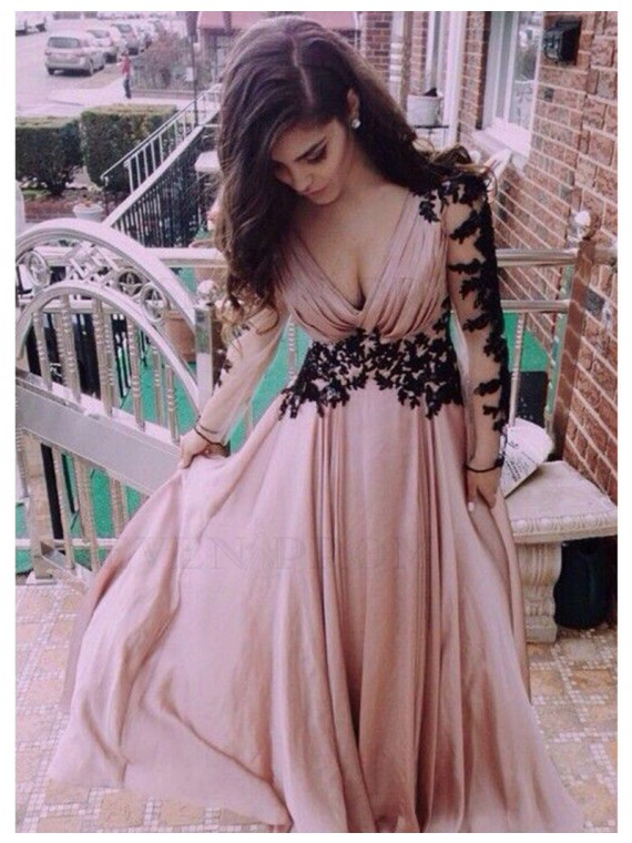 Sexy Blush V-Neck Long Sleeves Backless Pleats Appliques Long Prom Dress