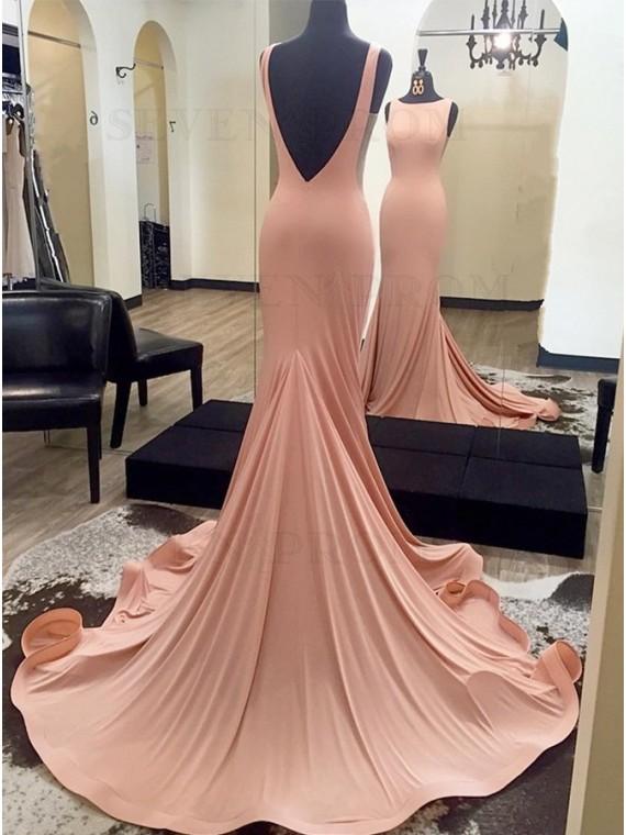 Mermaid Bateau Sleeveless Backless Evening Dress Blush Prom Dress