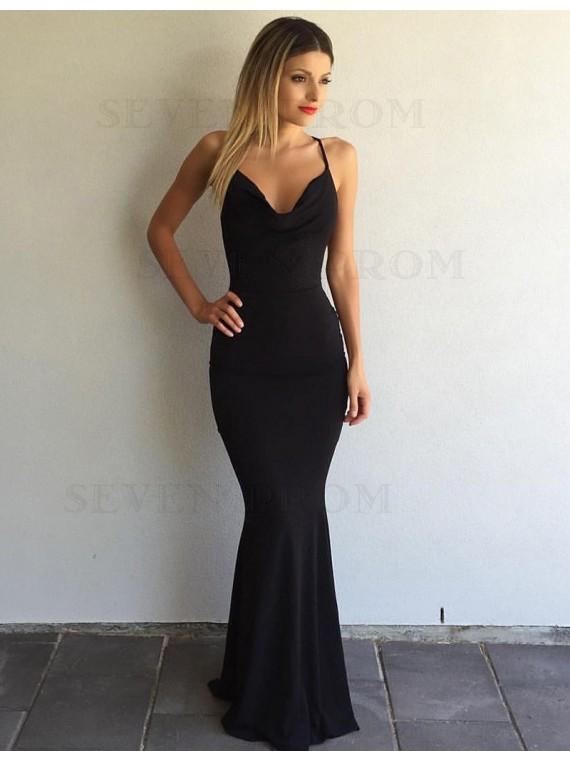 Black Mermaid Scoop Sleeveless Sweep Train Criss-Cross Straps Prom Dress