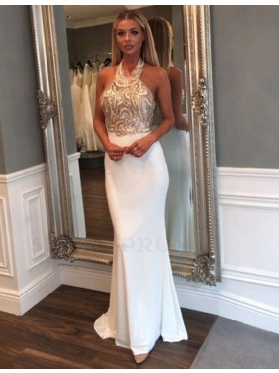 Fancy Halter Sleeveless Illusion Back Mermaid White Prom Dress with Lace