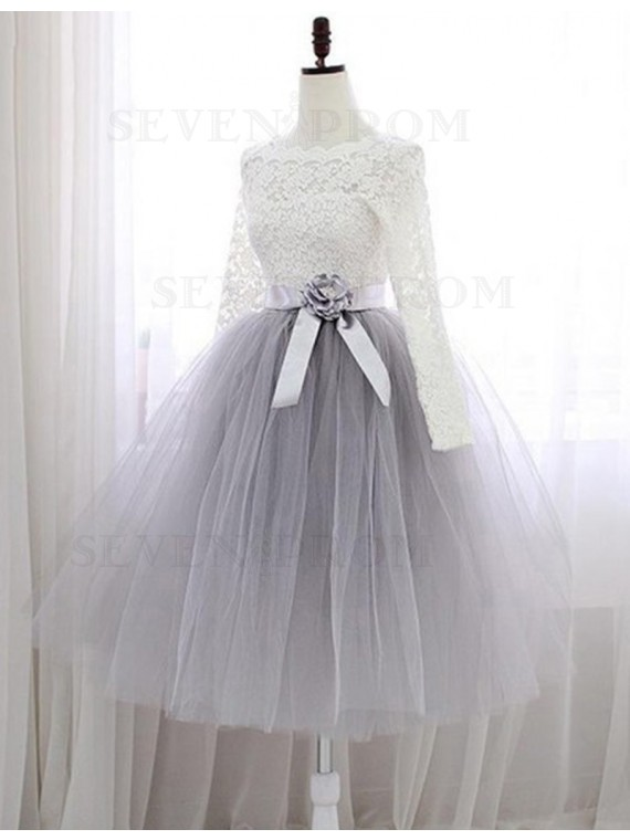 A-Line Bateau Long Sleeves Light Gray Tulle Prom Dress with Flower