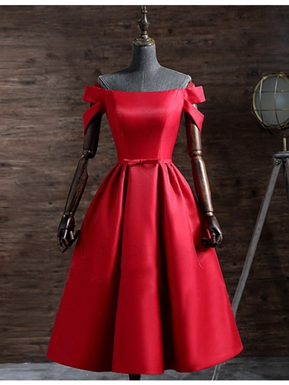 Off-the-Shoulder Short Red Prom Dress with Sleeves