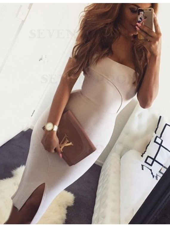 Simple Off the Shoulder Sleeveless Knee Length Sheath Prom Dress