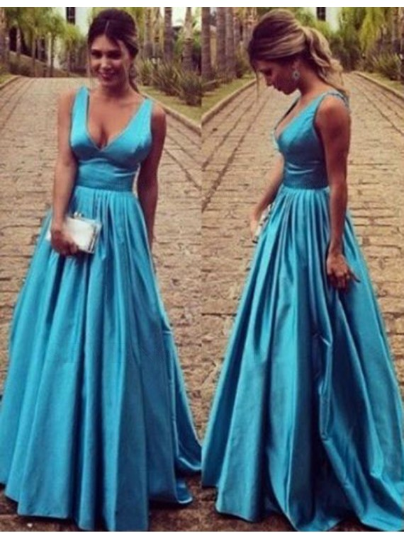 Elegant V-Neck Sleeveless Floor Length Open Back Blue Prom Dress with Pleats