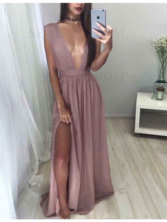 Hot Blush Deep V Neck Floor Length Pleated Prom Dress with Split