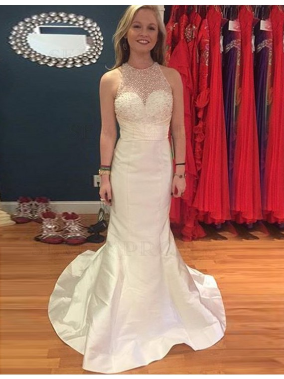 Modern Mermaid Ivory Crew Sweep Train Prom Dress with Beading