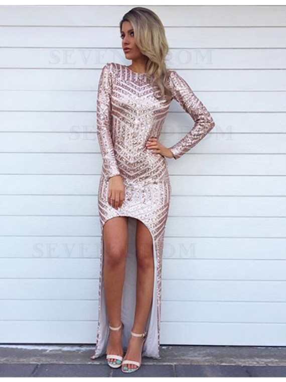 Sexy Mermaid Pink Jewel Sweep Train Long Sleeves Prom Dress with Sequins
