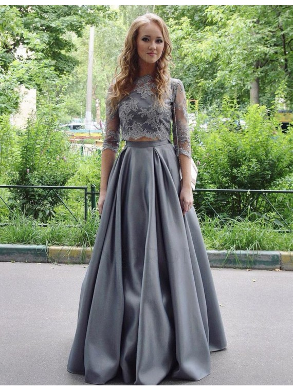 Elegant Two Piece Gray Jewel Floor-length 3/4 Sleeves Prom Dress with Lace