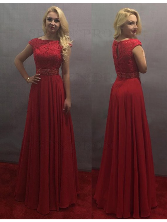 Modern A-line Red Bateau Floor-length Cap Sleeves Prom Dress with Lace