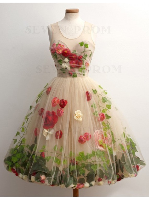 Elegant A-line Champagne Scoop Knee-length Prom Dress with Flower