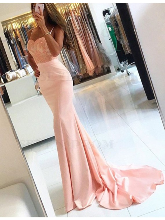 Elegant Mermaid Pink Spaghetti Straps Prom Dress with Appliques Sequins