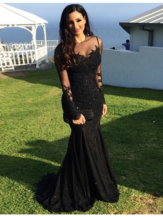 Elegant Long Sleeves Mermaid Prom Dress with Appliques Beading Black Evening Dress