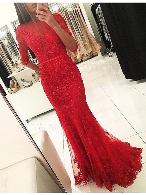 Elegant Bateau Half Sleeves Mermaid Long Red Prom Dress with Sash Beading Lace