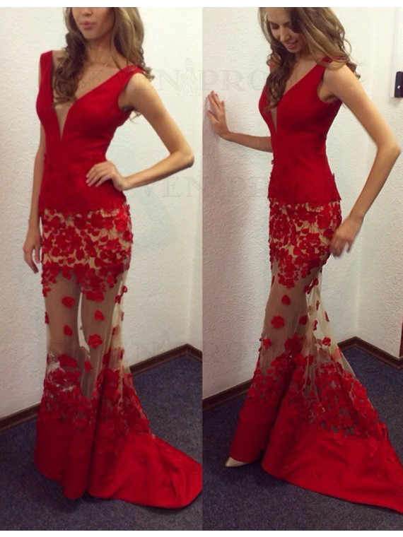 Modern V Neck Sleeveless Long Mermaid Red Prom Dress with Appliques
